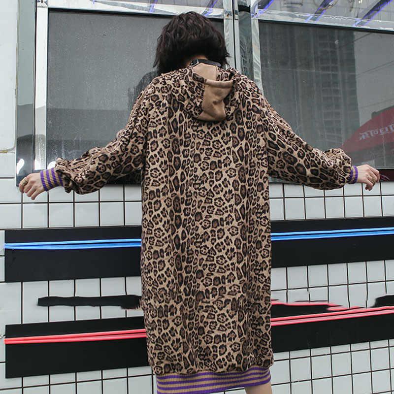 XITAO толстовки леопардовое миди платье для женщин плюс размер пэчворк Корея Мода Полосатый Сексуальный осень 2019 Новый богиня Вентилятор LYH1810