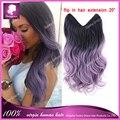 Flip en el cabello extensiones de cabello humano negro púrpura ombre onda del cuerpo del pelo brasileño