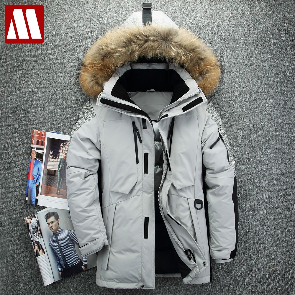 40 Degree Cold Resistant Russia Winter Parkas Down Jacket Man Genuine Fur Collar Thick Warm White Duck Down Men's Winter Coat by Ali Express.Com