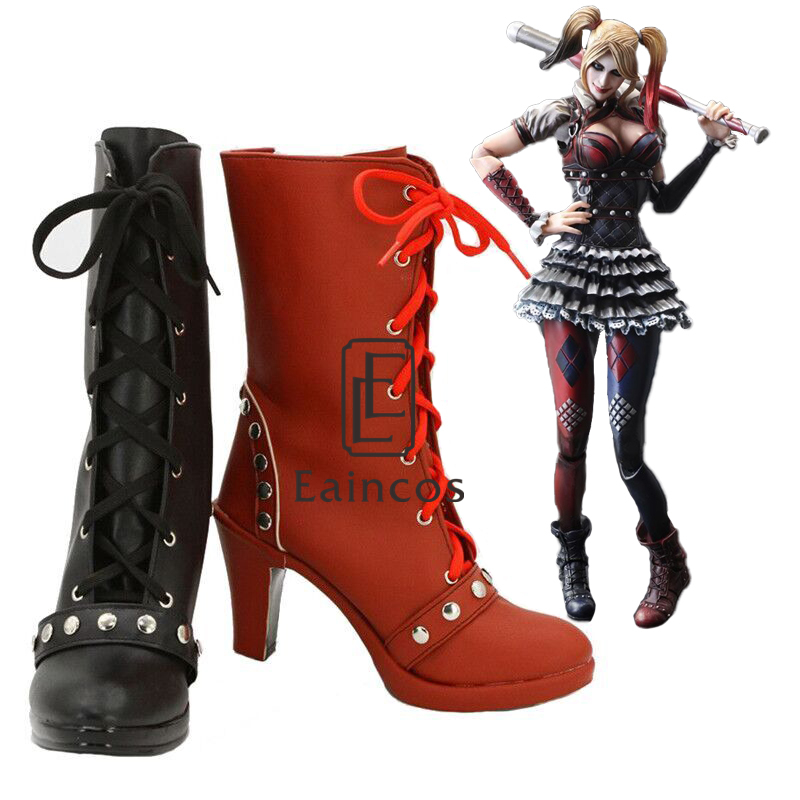 Batman Arkham Knight  Harley Quinn Cosplay Party Shoes Women Black and Red Short Fancy Boots Custom Made