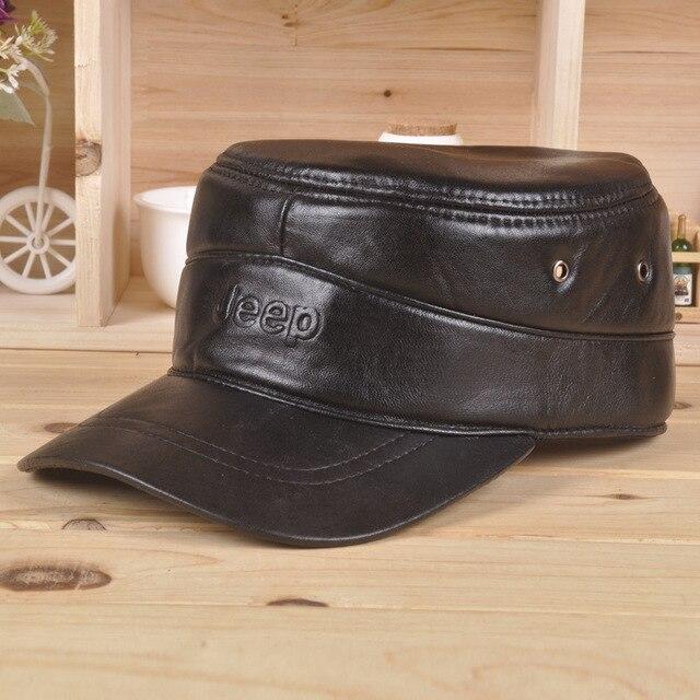 Men's 100% Genuine Leather Black Adjustable Casual Sport Baseball Golf Cap Hat  B-0573