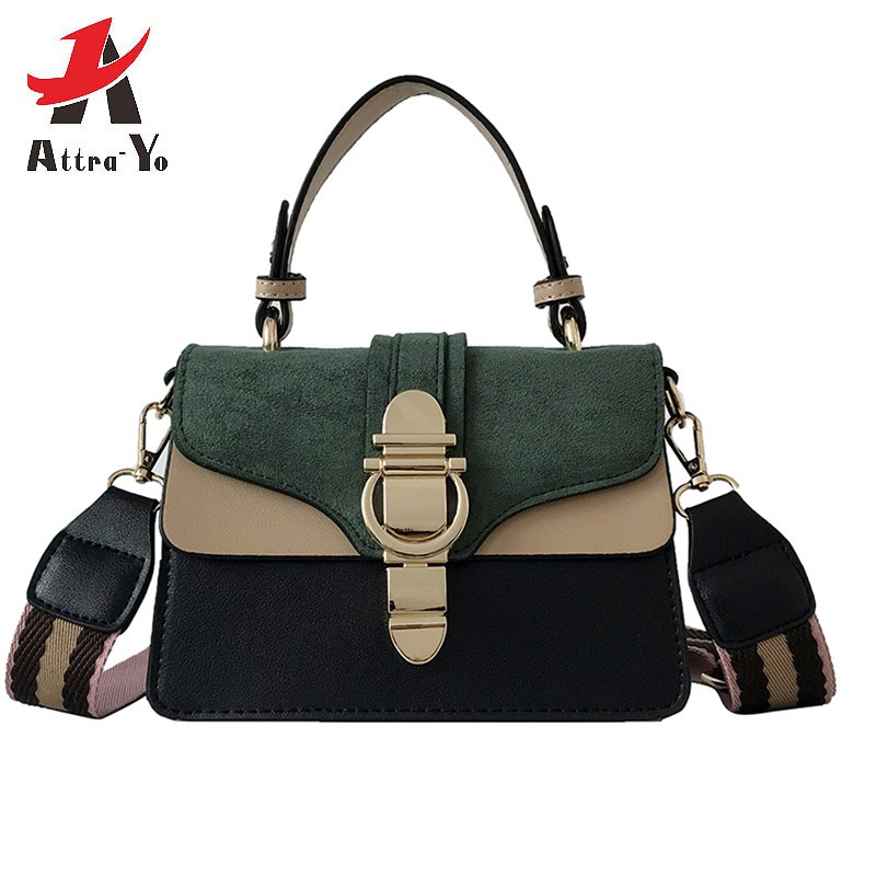 e049ccb5801 Detail Feedback Questions about Attra Yo Women Bags Female 2019 Spring and  Summer New Wild Handbags Fashion Lock Colorful Panelled Shoulder and  Messenger ...