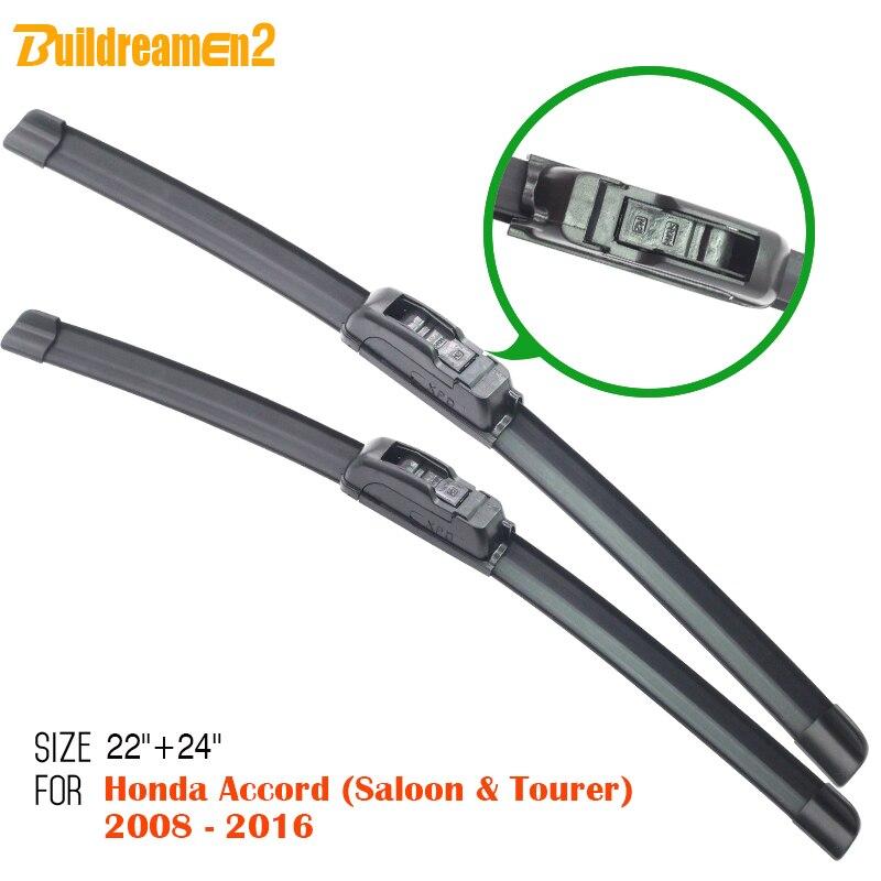 Buildreamen2 Carro De Borracha Macia Limpa Bracketless Windshield Wiper  Blade Para Honda Accord (Saloon U0026 Tourer) 2008 2016
