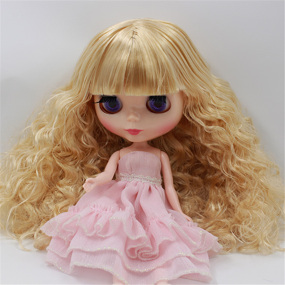 Dolls & Stuffed Toys Initiative Factory Blyth Doll Nude Doll 280bl0519 Golden Long Curly Hair With Bangs Free Shipping 4 Colors For Eyes Suitable For Diy In Short Supply Toys & Hobbies