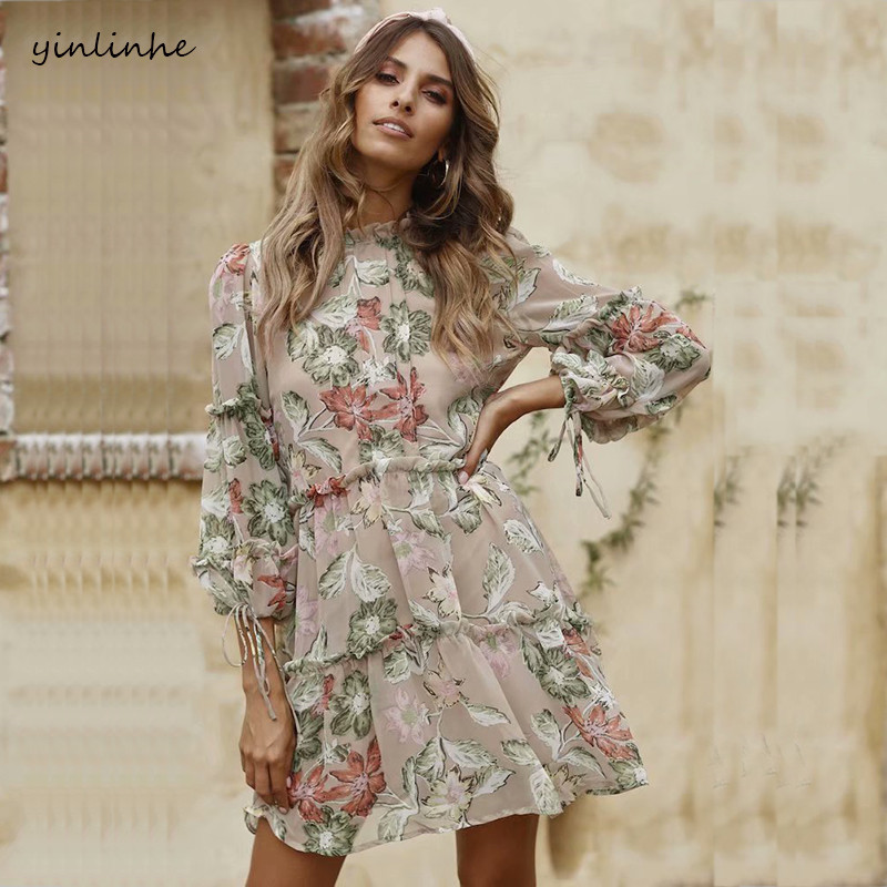 yinlinhe Floral Print Summer Dress Long Sleeve Sexy Chiffon Dress Women Backless Slim Waist Elegant Boho Vestido 431