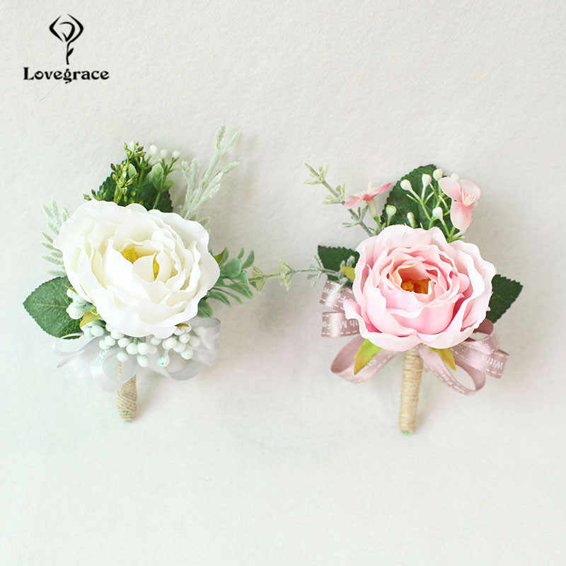 Wedding Boutonnieres White Pink Silk Roses Wrist Corsage Bracelets Bridesmaid Flowers Groom Brooch Marriage Cuff Wrist Corsages
