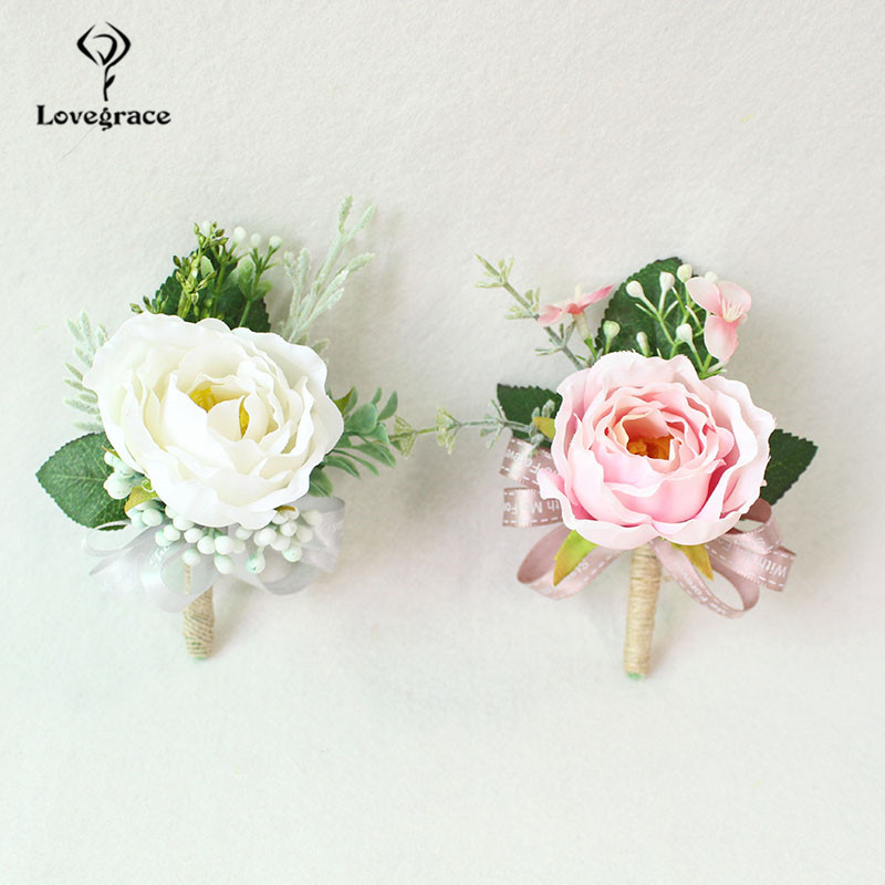 Wedding Boutonnieres White Pink Silk Roses Wrist Corsage Bracelets Bridesmaid Flowers Groom Brooch <font><b>Marriage</b></font> Cuff Wrist Corsages image