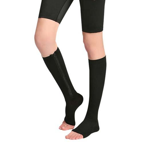 High quality Mens Womens Open Toe Knee High Anti-Fatigue Zip Leg Compression Support Socks 2-COLORS