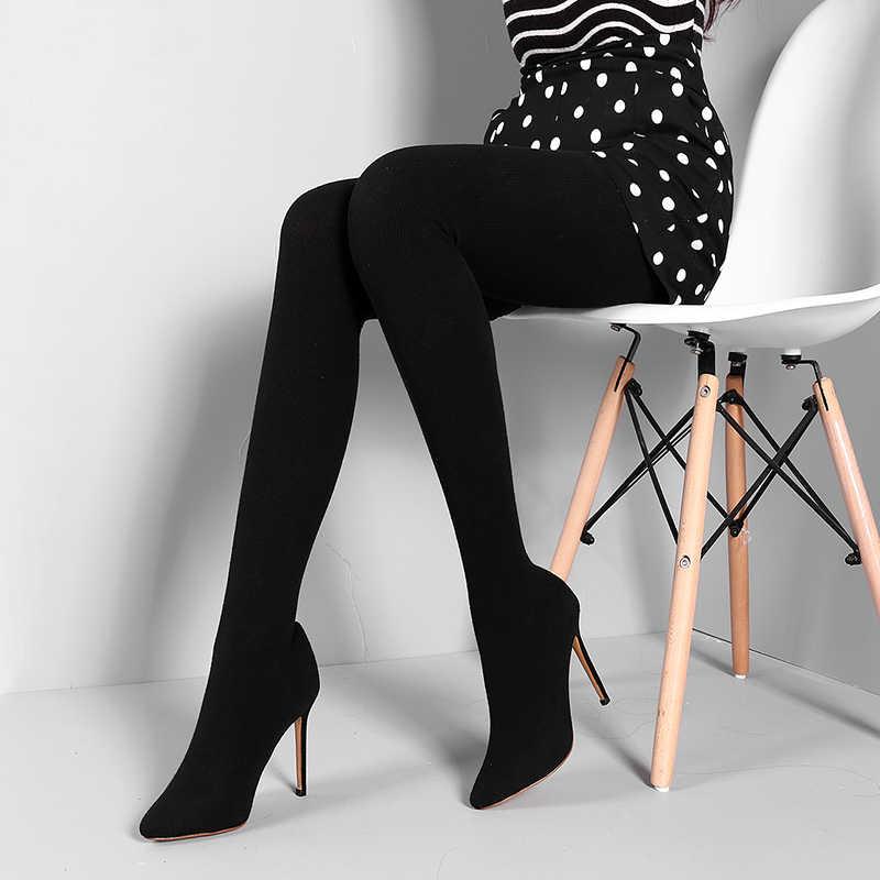 c040a0066 WETKISS FlyKnit Sexy femme mode Leggings bottes Stretch pantalon femmes  chaussures talon aiguille chaussette bottes deux en un pantalon bottes