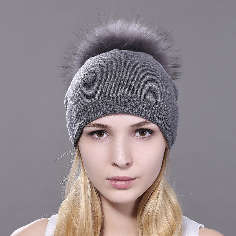 Maylooks Raccoon Fur Pompon Hat Thick Winter For Women Cap Beanie Hats Knitted Cashmere Wool Caps Female Skullies Beanies neurobiology of epilepsy and aging 81
