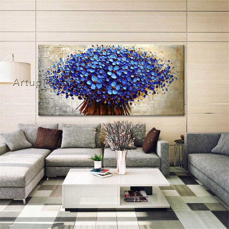 Canvas Artwork Portray Palette Knife 3D Texture Acrylic Purple Flowers Oil Portray Cuadros Decoracion Wall Image For Dwelling Room