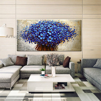 Canvas art Painting palette knife 3D texture acrylic purple Flowers oil painting cuadros decoracion Wall Picture For Living Room