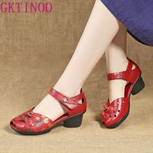 GKTINOO Summer Genuine Leather Women Shoes Comfortable Ladies Mid Heel Sandals Hollow Round Toe Square Heels Sandals Woman