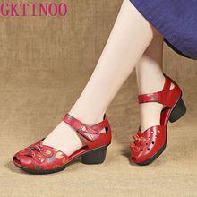 GKTINOO Yaz Hakiki Deri Kadın Ayakkabı Rahat Bayanlar Orta Topuk Sandalet Içi Boş Yuvarlak Ayak Kare Topuklu Sandalet Kadın