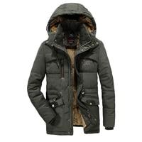 7XL 8XL windbreaker male Multi pocket parka Coat fleece military hood overcoat Winter Jacket Men Outwear Breathable Keep warm