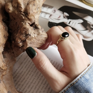 Image 5 - LouLeur Bạc 925 Nguyên Bản Mã Não Đen Mở Nhẫn Vàng Tính Khí Thiết Kế Sang Trọng Cho Nữ, Nhẫn Nữ Lễ Hội Trang Sức