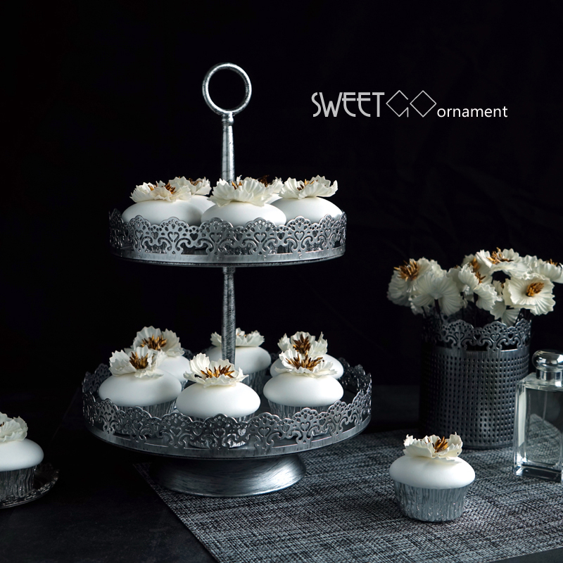 Cupcake Home Decor: Vintage Silver Cake Stands Two/three Tier Wedding Cupcake