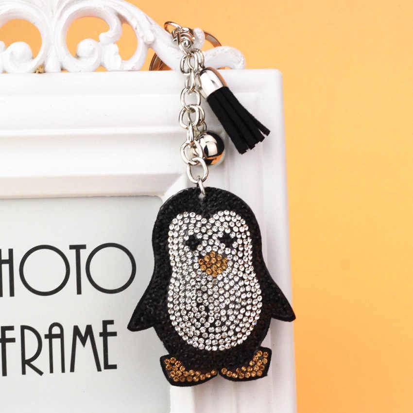 Милый Пингвин кулон кожаный брелок кольцо держатель Золотая сумка брелок для ключей Автомобильный ключ брелок со стразами подарок для девочек