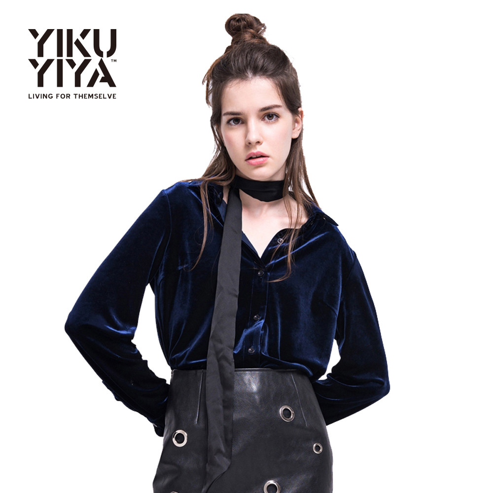 HYH-HAOYIHUI-Women-Long-Sleeve-Shirt-Dark-Blue-Velvet-Office-Elegant-Blouses-Casual-Shirts-Ladies-Blusas