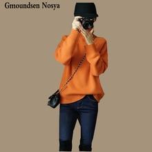 2019 新セーター女性タートルネックプルオーバー女性オレンジカシミヤセーターファッションカジュアルニットセーター冬服の女性