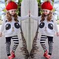 Новые Девушки Панда Мультфильм Одежда Устанавливает Летние Случайные Короткие рукавом + Брюки Детская Одежда Набор