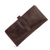 Genuine Leather Men Wallets Crazy Horse Male Walet Money Bag Fashion Long Vallet Zipper Design Portomonee RFID Purse Card Holder