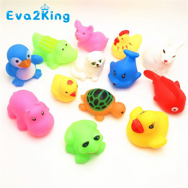 13Pcs Lovely Mixed Colorful Rubber Can float On water And sound when Squeeze You Squeaky Bathing Toys For Children Bath Duck cute baby rattle bath toy squeeze animal rubber toy duck bb bathing water toy race squeaky yellow duck classic toys reborn gift