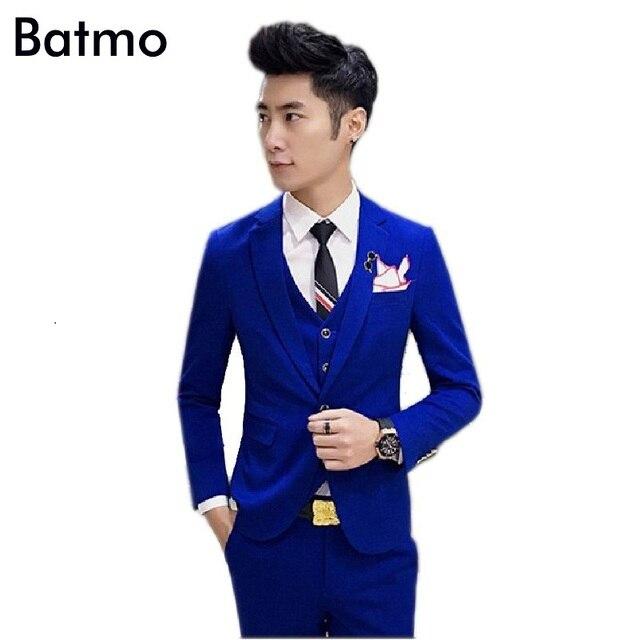 2017 nuovo arrivo cotone di Alta qualità Monopetto blu abiti da uomo ... 2147cfd1e0b