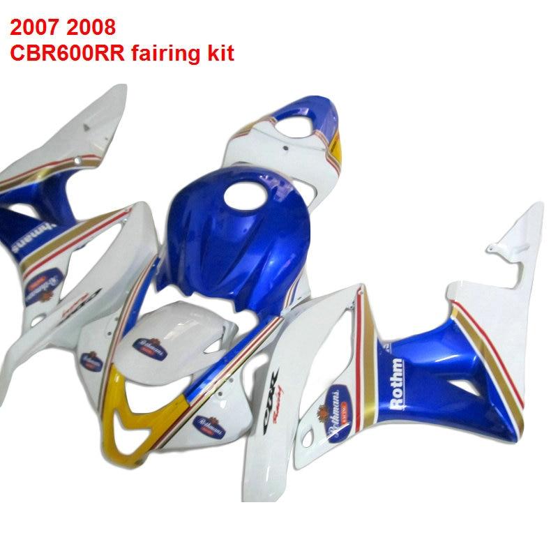 Injection Moto Pour HONDA CBR 600RR 07 08 (Bleu et blanc) vente Chaude carénages ABS carénage kit/x12