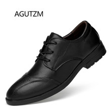 AGUTZM 8371 New Fashion Puntschoen Bullock Carve Lace Up 100% Lederen Vierkante Hak Rubberen Zool Business Casual Mannen schoenen(China)