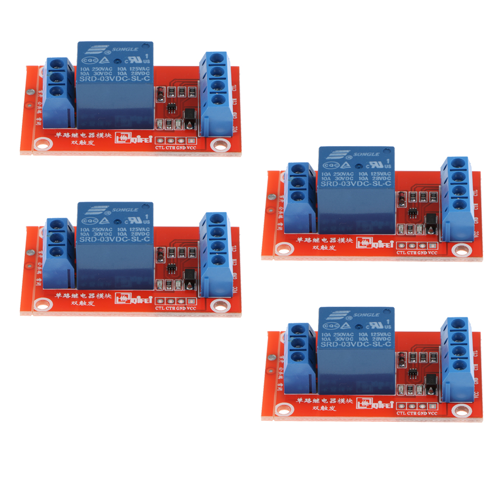 4 Pieces 3V 1 Channel Relay Board Module Optocoupler LED for Arduino PIC ARM