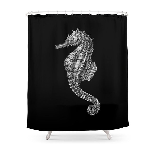 Seahorse Shower Curtain Polyester Fabric Bathroom Home Decoration Waterproof Print Curtains With Hooks