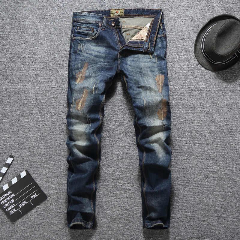 Модная уличная одежда, мужские джинсы темно-синего цвета с вышивкой, дизайнерские рваные джинсы для мужчин, винтажные классические джинсы, Мужские брюки в стиле хип-хоп