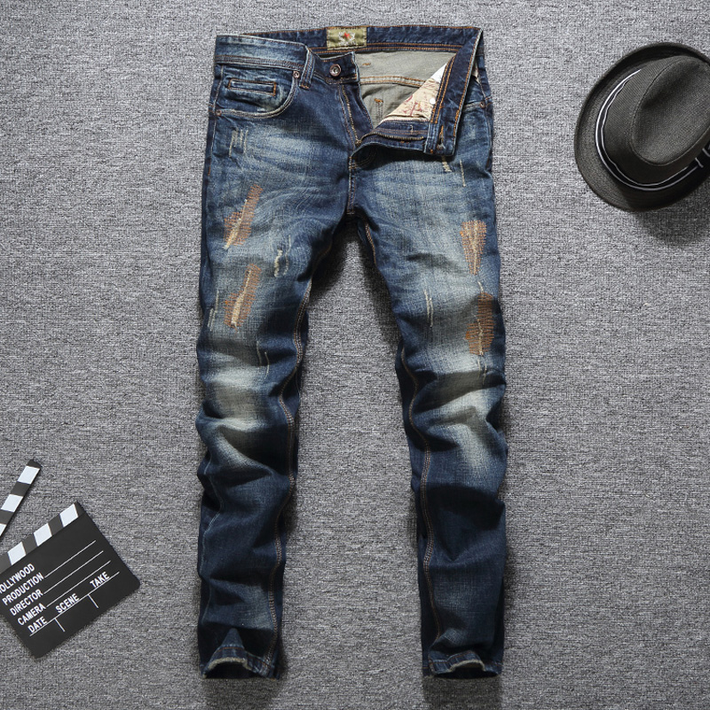Dark Blue Color Fashion Vintage Men Jeans Patchwork Ripped Jeans Homme Denim Cotton Slim Fit Brand Jeans Men Classical Pants