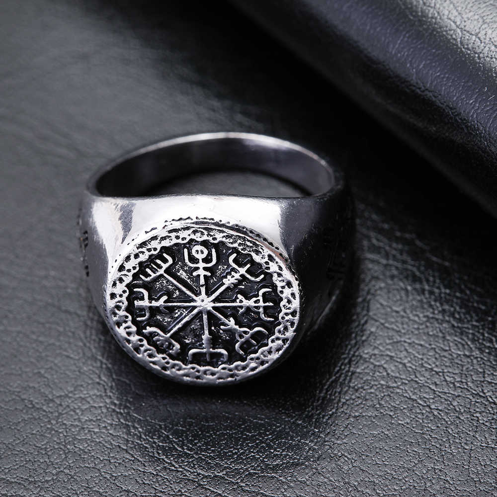 Dawapara Vegvizir Ring Mammen Style Runic Compass Male Black Antique Silver Plated Slavic Scandinavian Norse Viking Jewelry