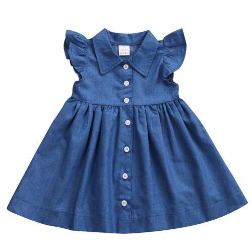 Toddler Kids Girls Denim Ruffle Sleeveless Dress Summer Sundress Party Clothes 1-6T New