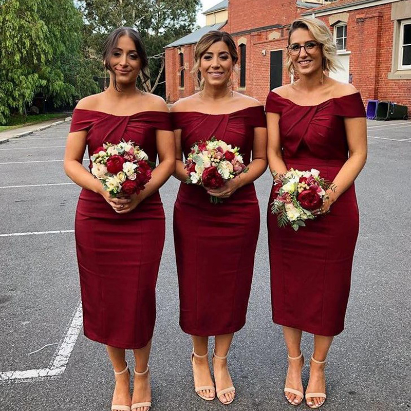 Vintage Burgundy Tea Length   Bridesmaid     Dresses   Boat Neck Cap Sleeve Short Satin Country Maid Of Honor Gowns Wedding Party   Dress
