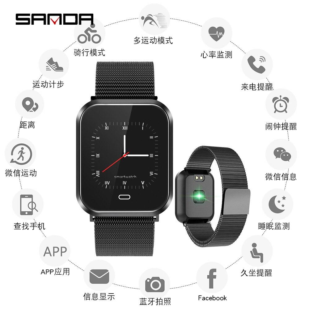 Sanda Männer Smart Uhr Mens Bluetooth Sport Uhren Gesundheit Armband Armbanduhr Frauen Herz Rate Monitor Fitness Tracker Armband Herrenuhren