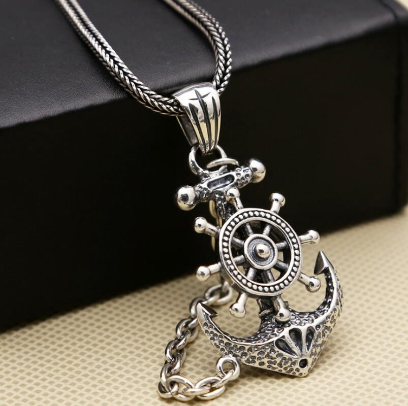 S925 sterling silver jewelry anchor pirate lock men's pendant (FGL) s925 anchor pendant silver pendant chain retro punk pirate men