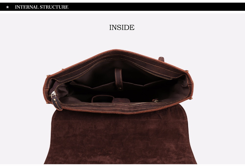 JOYIR 2019 Vintage Men's Genuine Leather Briefcase Crazy Horse Genuine Leather Messenger Male Laptop Bag Men Business Travel Bag