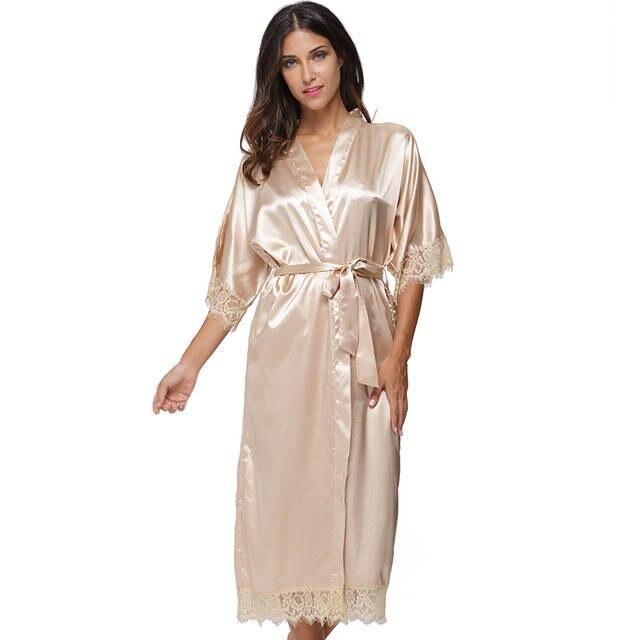 487e4d8903 Summer Lace Patchwork Satin Kimono Robe Sexy Sleepwear Lingerie Chemises  Women Silk Long Nightgown Wedding bridesmaid