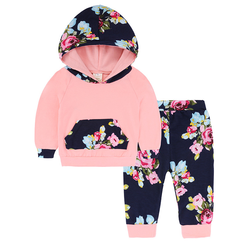 Newborn Babies Kids Girl Floral Outfit Long Sleeve Tops Pants Clothes Tracksuit