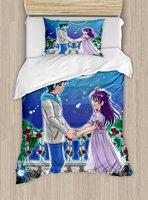 Anime Duvet Cover Set Illustration of Romantic Couple Holding Hands under Moonlight Love Valentine's Manga 4 Piece Bedding Set