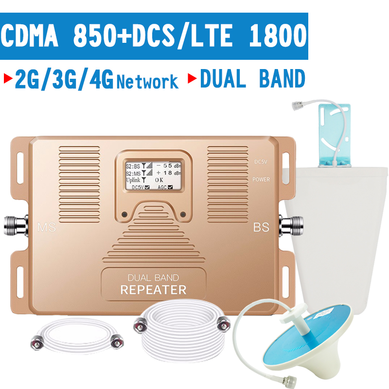 Smart 2G 3G 4G Mobile Signal Booster CDMA 850 LTE DCS 1800 Dual Band Cellphone Signal Repeater 70dB LCD Display 4G LTE Amplifier-in Signal Boosters from Cellphones & Telecommunications