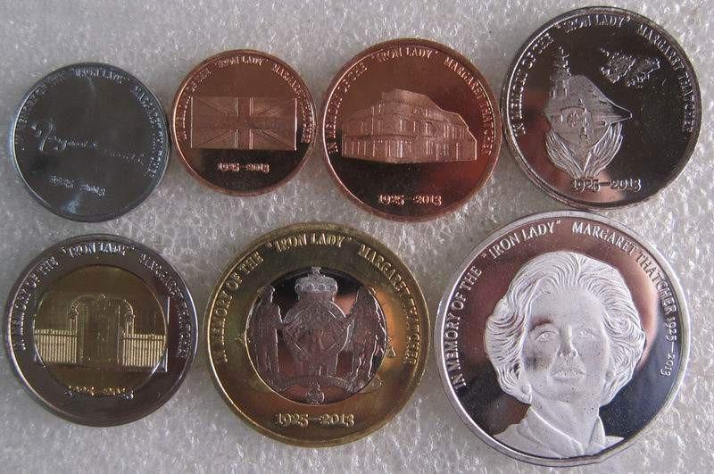 7 sztuk Lei Dongda Redonda wyspie moneta pamiątkowa Margaret Thatcher monety oryginalne monety nie rozpowszechniane w Monety bezwalutowe od Dom i ogród na  Grupa 1