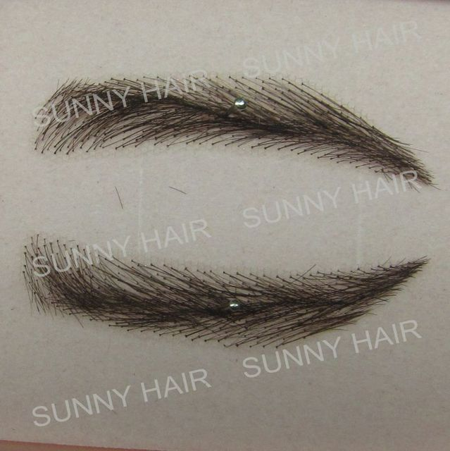 EB014 invisible swiss lace relastic hand made human hair false eyebrow black 1B color