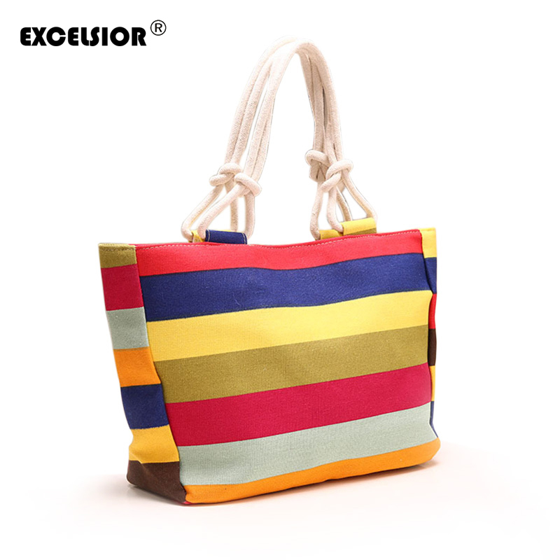 Fashion Women Lady Striped Zipper Shopping Handbag Rope Shoulder Canvas Bag Tote Purse Casual Bolsa Beach Large Bags Sac A Main rivet bag for women casual large capacity tote handbag horizontal vertical type useful shopping bag necessity sac bolsas new2015