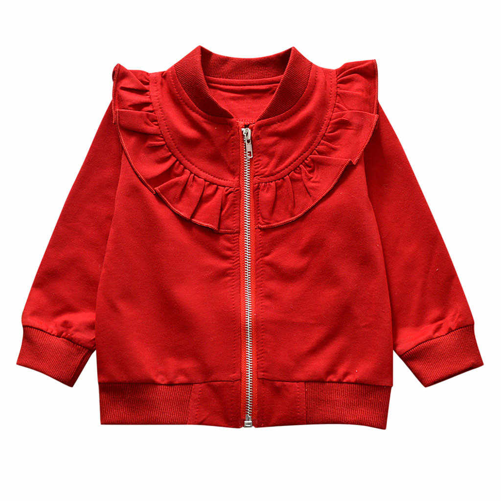 תינוק נים מעיל ארוך שרוול מוצק רוכסן טרנינג חולצות הלבשה עליונה כותנה תערובת V-צוואר תחרה לילדים זרוק חינם 1d6