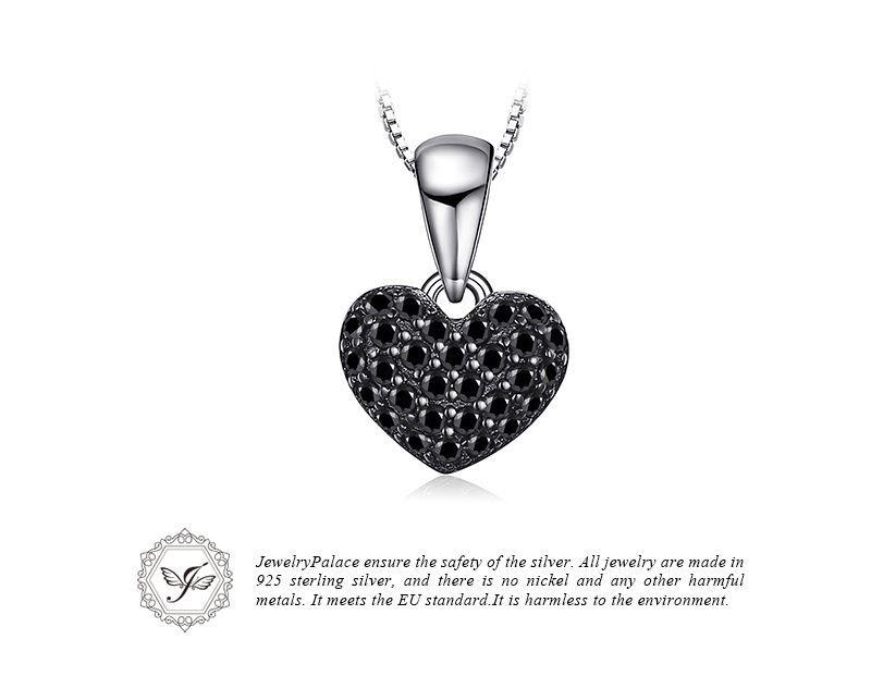 Jewelrypalace moda 0.28ct natural negro spinel amor corazón ...