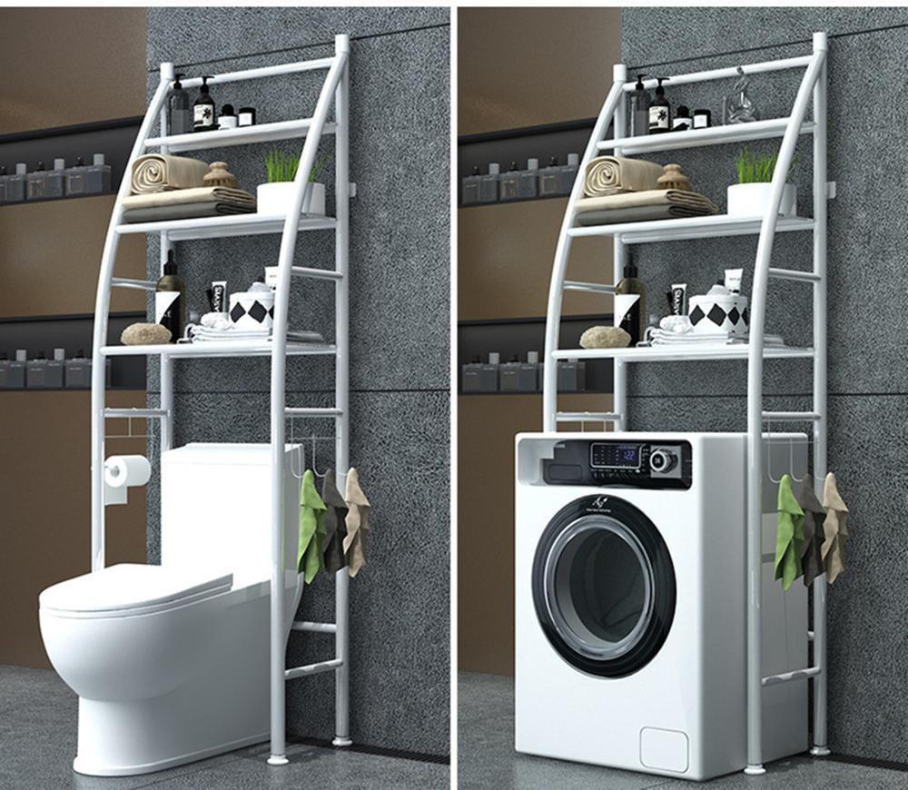 Storage-Shelf Towel-Hook Space-Saver Washing-Machine Over-Toilet Bathroom Kitchen 3-Tier